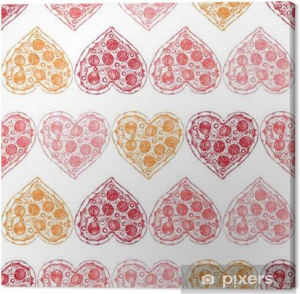 Obraz na płótnie Walentynki tle wyciągnąć rękę szkic pizzy. Jednolite wzór z rocznika żywności ilustracji. - Religia i kultura