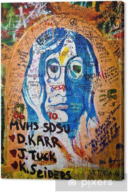 Obraz na płótnie Wall of John Lennon (Praga) - Retrato (Toma 3) - Miasta europejskie