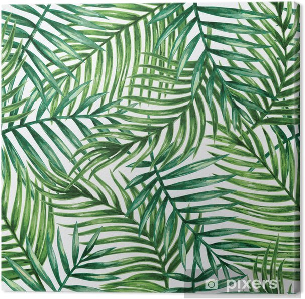 Obraz na płótnie Watercolor tropical palm leaves seamless pattern. Vector illustration. - Tła