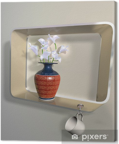 Obraz na płótnie Wazon z kwiatami na półce niemożliwej - Kwiaty