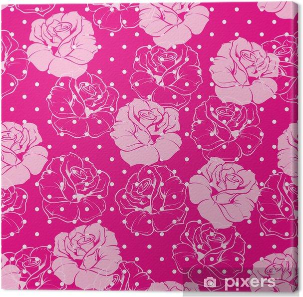 Obraz na płótnie Wektor bez szwu kwiatowy wzór różowe róże białe tło kropki - Tła
