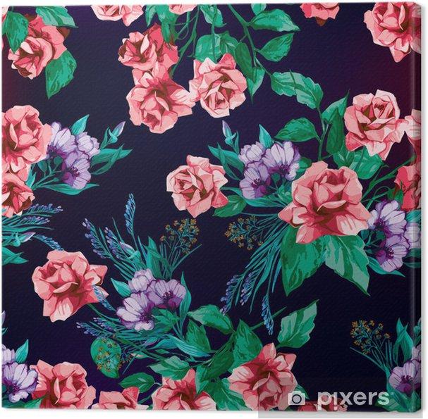 Obraz na płótnie Wektor bez szwu kwiatowy wzór z róż na czarnym tle - Tła