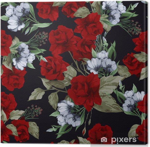 Obraz na płótnie Wektor bez szwu kwiatowy wzór z różami, akwarela - Tła