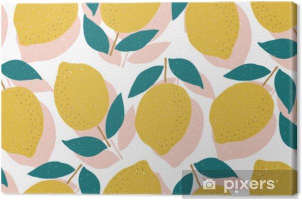 Obraz na płótnie Wektor bez szwu wzór cytryny, letnie owoce - Zasoby graficzne