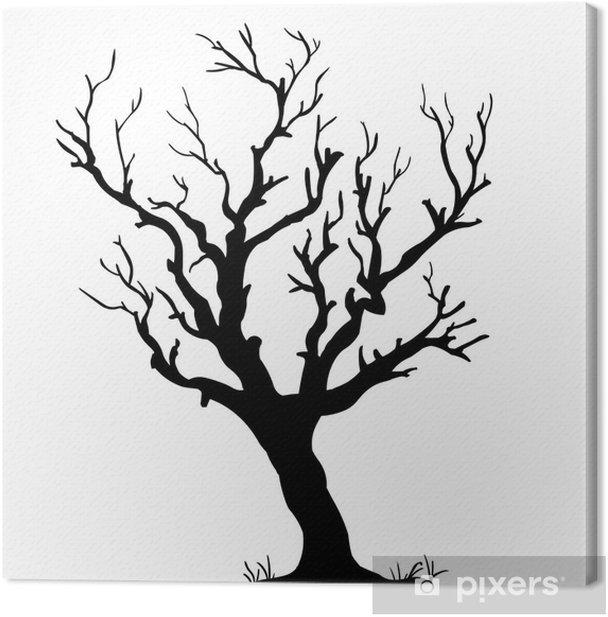 Obraz na płótnie Wektor czarna sylwetka z gołymi drzewa - Pory roku
