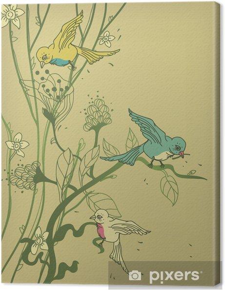 Obraz na płótnie Wektor drzewo z kolorowych ptaków i kwiatów - Fikcyjne zwierzęta
