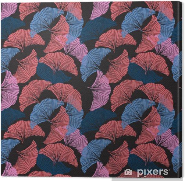 Obraz na płótnie Wektor kolorowy wzór. ręcznie rysowane liści ginkgo biloba. - Zasoby graficzne