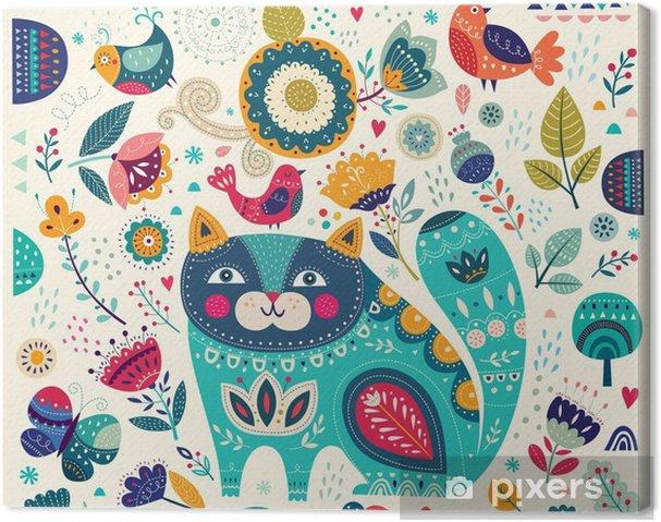 Obraz na płótnie Wektor kolorowych ilustracji z pięknych kotów, ptaków, motyli i kwiatów - Zwierzęta