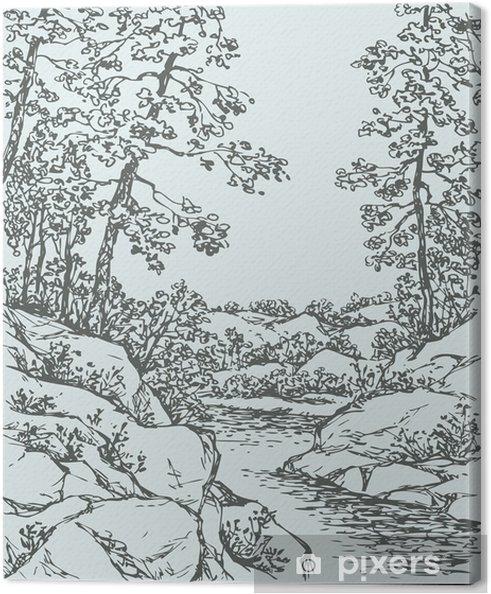 Obraz na płótnie Wektor krajobraz. Drzewa na skalistym brzegu górskiego strumienia - Pory roku