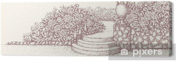 Obraz na płótnie Wektor krajobraz parku. Schody otoczone kwitnienie kwietniki - Dom i ogród