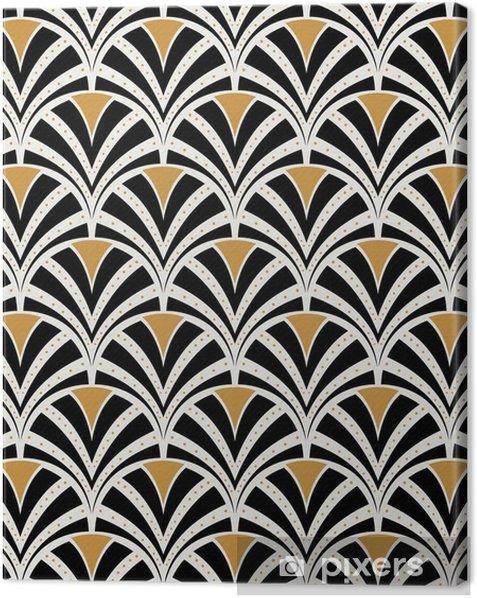 Obraz na płótnie Wektor kwiatowy secesja szwu. geometryczne dekoracyjne liście tekstur. retro stylowy tło. - Zasoby graficzne