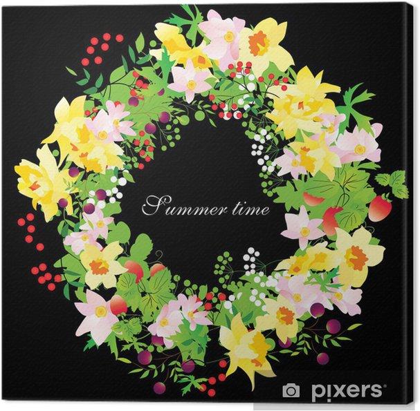 Obraz na płótnie Wektor letnich kwiatów wieniec z żonkile na czarnym tle - Kwiaty