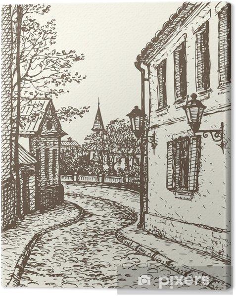 Obraz na płótnie Wektor miasta. Wąska ulica starego miasta - Europa