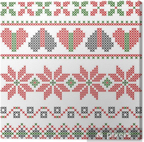 Obraz na płótnie Wektor ściegu hafty w stylu Bożego Narodzenia - Style
