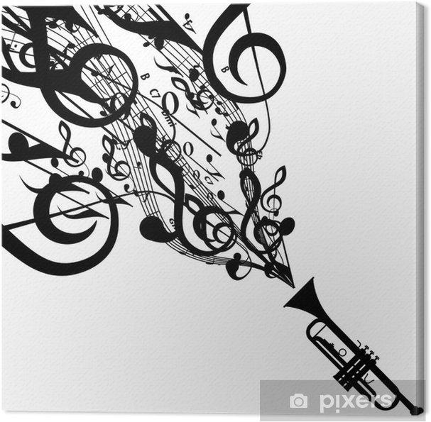 Obraz na płótnie Wektor sylwetka trąbki z muzycznych symboli - Muzyka