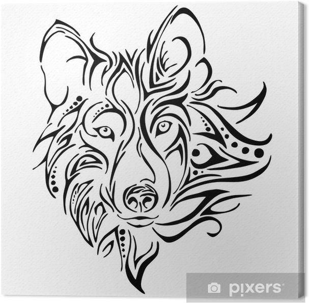 Obraz Na Płótnie Wektor Tatuaż Głowa Wilka