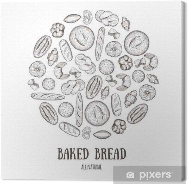 Obraz na płótnie Wektor tła z produktów chleb, pieczywo. koncepcja koło piekarni. ilustracje rysowane ręcznie. - Jedzenie