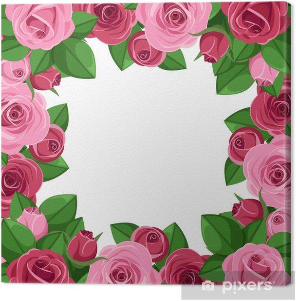 Obraz na płótnie Wektor tła z róż czerwonych i różowych. - Kwiaty