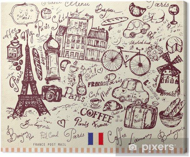 Obraz na płótnie Wektor wyciągnąć rękę kartkę z symbolami paris - Miasta europejskie
