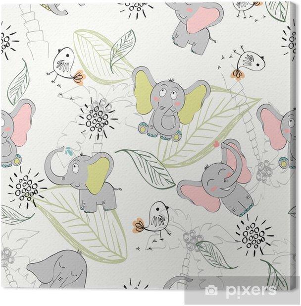 Obraz na płótnie Wektor wzór z słonia i ptaków - Zwierzęta