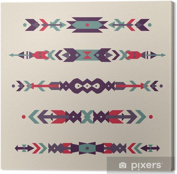 Obraz na płótnie Wektor zestaw dekoracyjnych granic etnicznych z indian amerykańskich motywów. Styl Boho. Tribal elementów. - Zasoby graficzne
