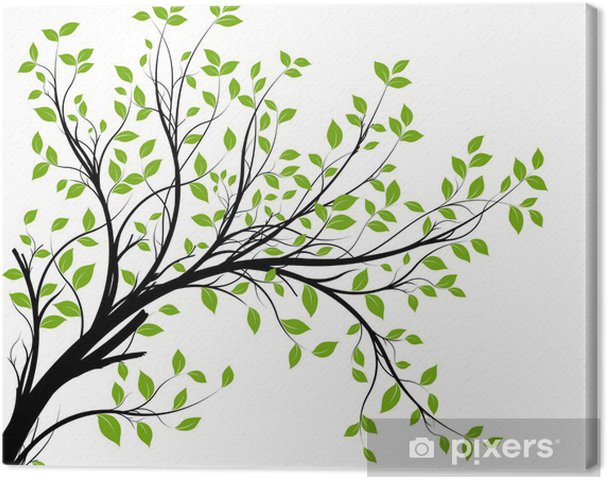 Obraz na płótnie Wektor zestaw - zielony gałęzi i liści dekoracyjne - Style