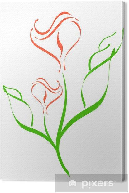 Obraz na płótnie Wektorowych. sylwetka kwiat na białym tle - Kwiaty