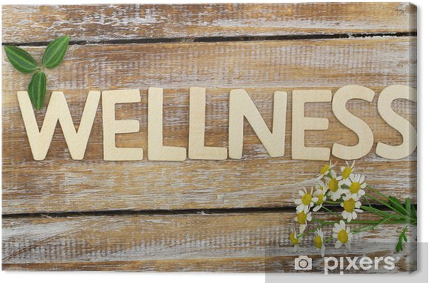 Obraz na płótnie Wellness napisany z drewnianych liter, kwiaty rumianku na drewnie - Znaki i symbole