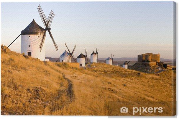 Obraz na płótnie Wiatraki z zamku, Consuegra, Kastylia-La Mancha, Hiszpania - Europa