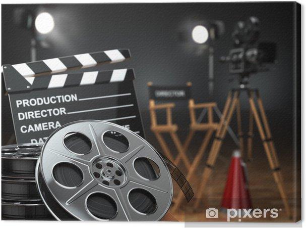 Obraz na płótnie Wideo, film, koncepcja kina. Aparat retro, kołowrotki, Klaps - Tematy