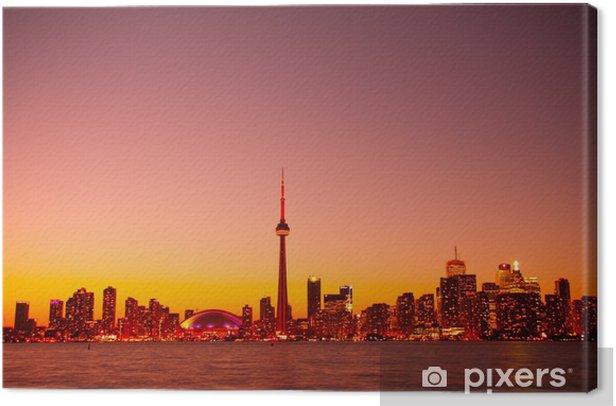 Obraz na płótnie Widok Night Sky Światła Toronto wykonane z wyspą centralną - Ameryka