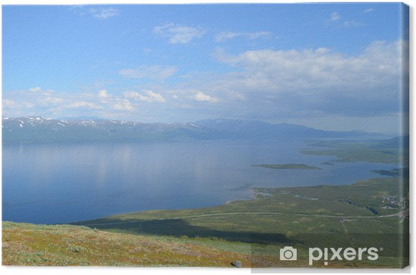 Obraz na płótnie Widok z góry na yn dolinie nuolja i Torneträsk jeziora - Woda