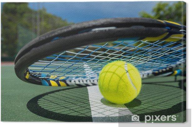 Obraz na płótnie Widok z rakieta tenisowa i piłki na korcie tenisowym gliny - Tenis