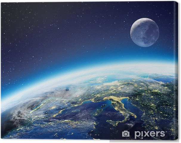 Obraz na płótnie Widok Ziemi i Księżyca z kosmosu w nocy - Europa - Gwiazdy