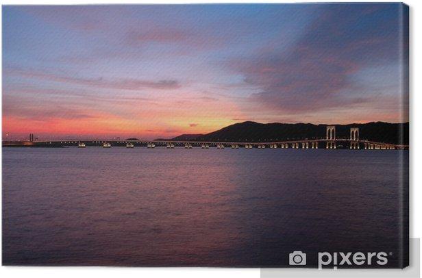 Obraz na płótnie Wieczorem Macau Tower Convention i mosty - Niebo