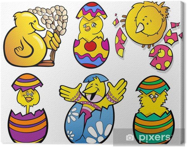Obraz na płótnie Wielkanoc piskląt zestaw cartoon ilustracji - Święta międzynarodowe