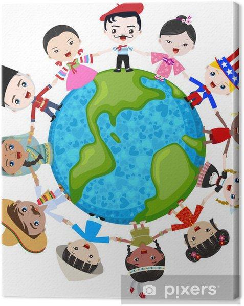 Obraz na płótnie Wielokulturowe dzieci na planecie Ziemi, różnorodności kulturowej - Naklejki na ścianę