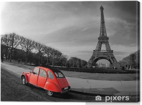 Obraz na płótnie Wieża Eiffla i czerwony-paris samochód -