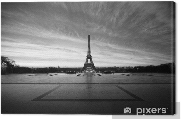Obraz na płótnie Wieża Eiffla o świcie - czarno-biały -