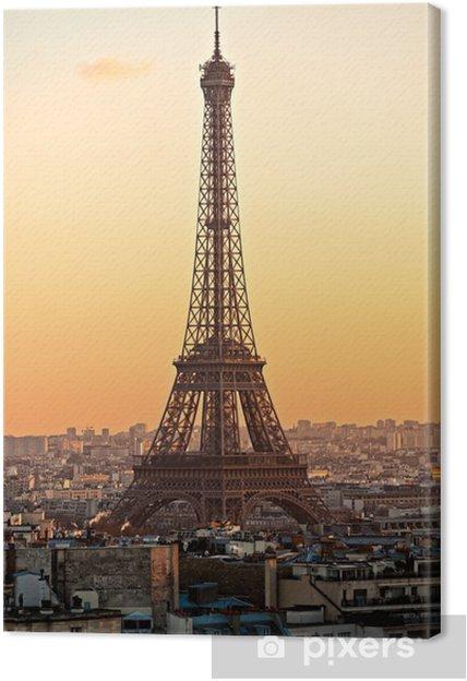 Obraz na płótnie Wieża Eiffla o zachodzie słońca Paryżu. - Miasta europejskie