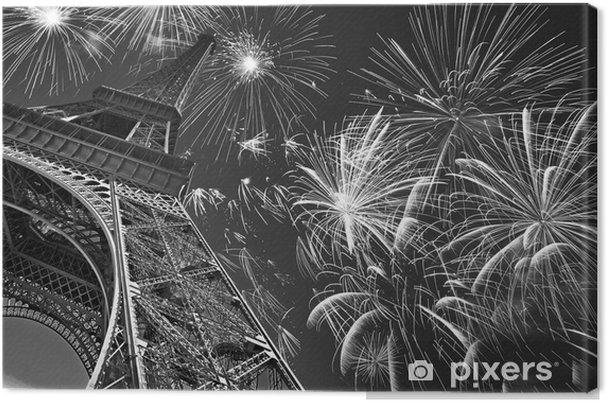 Obraz na płótnie Wieża Eiffla w nocy z fajerwerkami, francuski uroczystości i partii, obraz czarno-biały, Paryż Francja - Podróże