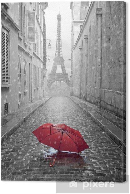 Obraz na płótnie Wieża Eiffla widok z ulicy w Paryżu -