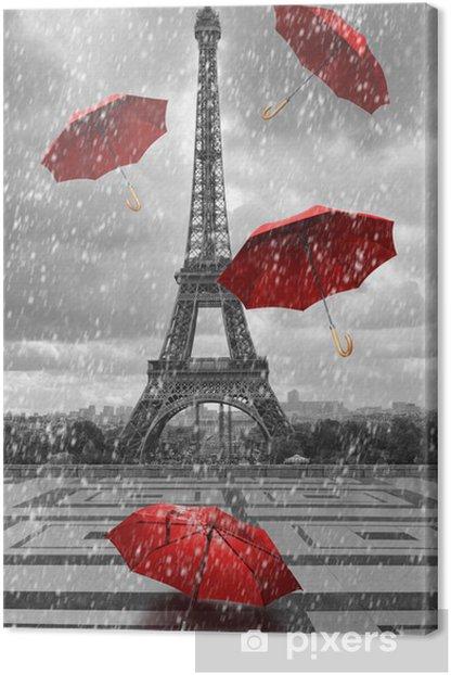 Obraz na płótnie Wieża Eiffla z latającymi parasolami. -