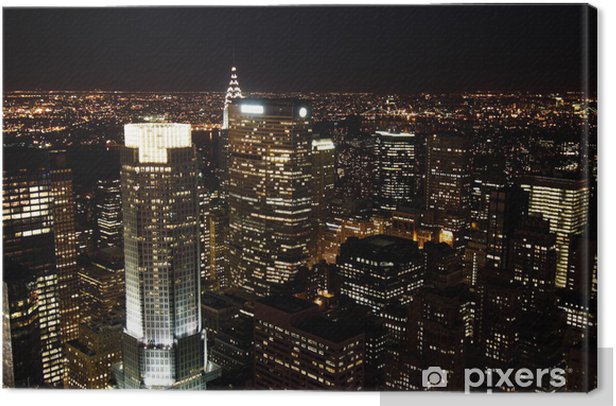 Obraz na płótnie Wieżowce Manhattan w nocy - Miasta amerykańskie