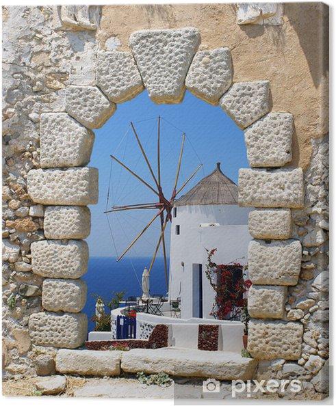 Obraz na płótnie Windmill przez starego okna weneckie, Grecja - Santorini