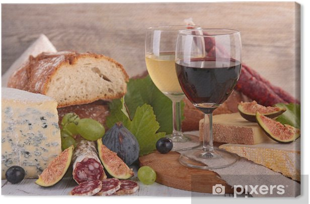 Obraz na płótnie Wino, ser i kiełbasa - Tematy