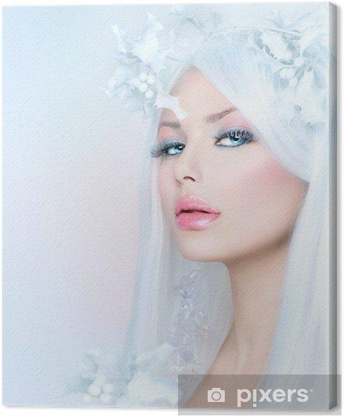 Obraz na płótnie Winter Beauty. Piękna modelka Dziewczyna z śniegu Fryzura - Kobiety