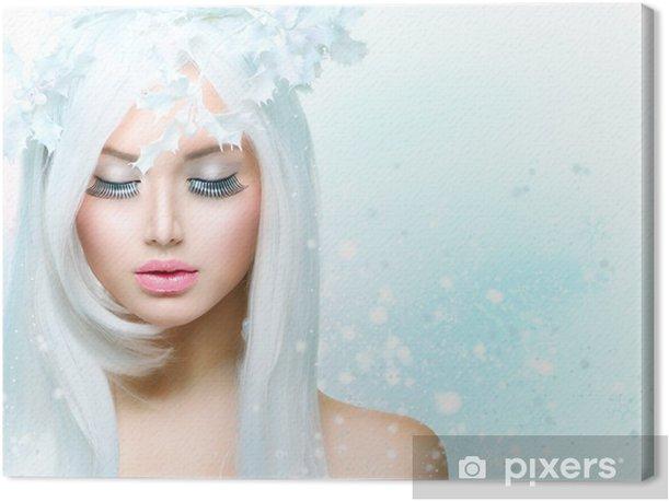 Obraz na płótnie Winter Beauty Woman. Fryzura dziewczyna śniegu - Święta międzynarodowe