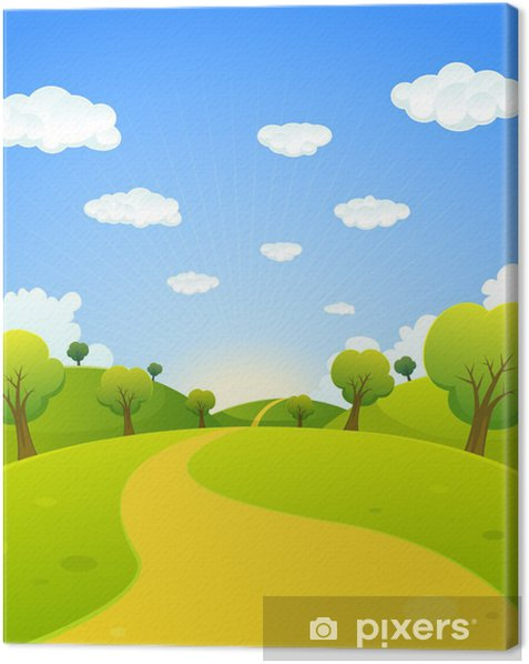 Obraz na płótnie Wiosną lub Krajobraz Cartoon Lato - Pory roku