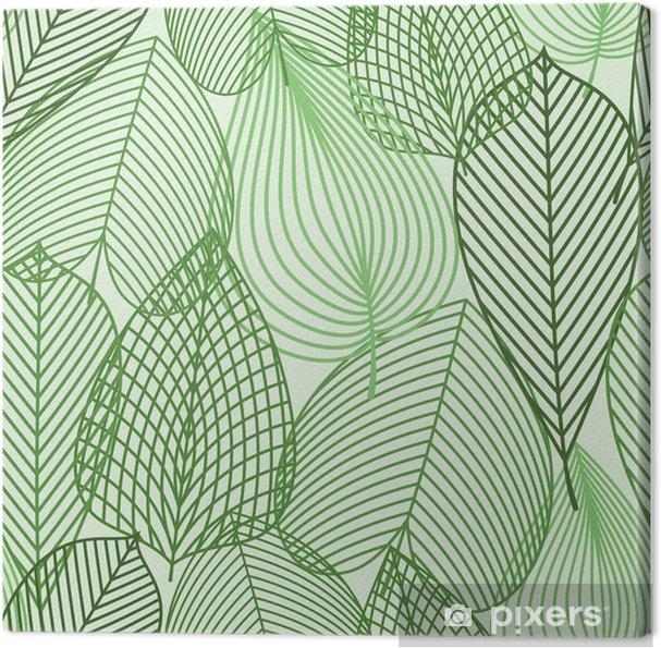 Obraz na płótnie Wiosną zielone liście szwu wzór -